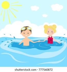Children swim and play in the swimming pool