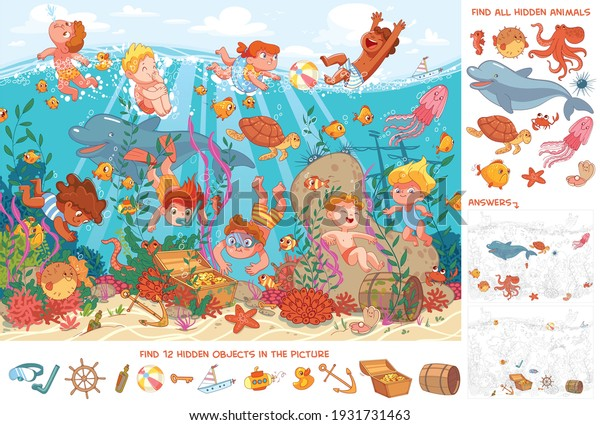 Children swim underwater with marine life. Kids snorkeling. Sport. Find all animals. Find 10 hidden objects in the picture. Puzzle Hidden Items. Funny cartoon character. Vector illustration. Set