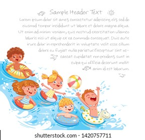 Children swimming and jumping on the waves. Kids having fun on water slides tubes at aquapark. Summer time. Page layout template for your design. Advertising brochure. Ready for your message
