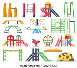 Children swings, ladders, slide outdoor fun playground. Kids recreation park carousel and sandbox vector illustration set. Children playground. Illustration sandbox and ladder, carousel and swing