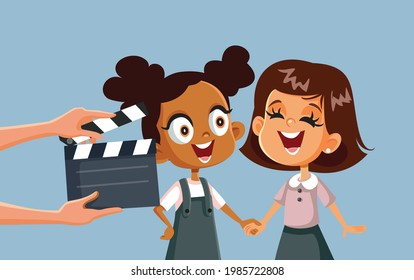 Children Taking Acting Classes Vector Cartoon Illustration. Little girl learning about acting at a young age starring in tv production for kids