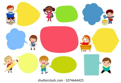 children talking with speech balloon