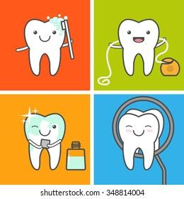 Children teeth care and hygiene vector icons. Oral hygiene. How to care for your teeth concept. Healthy tooth. Toothbrushing, flossing,mouthwashing and visit the dentist.