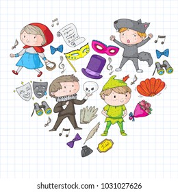 Children theatre patterns. Elements for design on the theatre. Collection of kids theatre symbols: mask, ticket, binocular. KIndergarten or school children perfomance. Doodle icons. Vector.