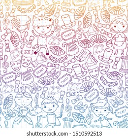 Children theatre patterns. Elements for design on the theatre. Doodles. Vector. Kindergarten children. seamless