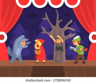 Children Theatre Performance, Kids Actors Performing Red Hood Fairy Tale Show Scene on Stage with Red Curtains Vector Illustration