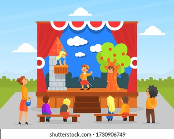 Children Theatre Performance, Kids Actors Performing on Stage with Red Curtains and Fairy Tale Castle Scenery Vector Illustration