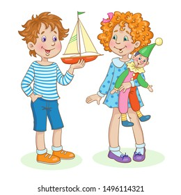 Children with their favorite toys. Little girl with a toy clown and funny boy with a toy yacht . In cartoon style. Isolated on a white background.