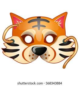 Children tiger mask. Vector.