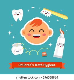 Children tooth hygiene icon set. Happy baby with healthy teeth, dental floss, toothpaste and toothbrush. Flat style cartoon vector icons.