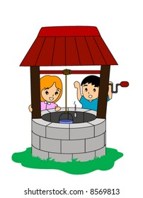 Children tossing coin in a wishing well - Vector