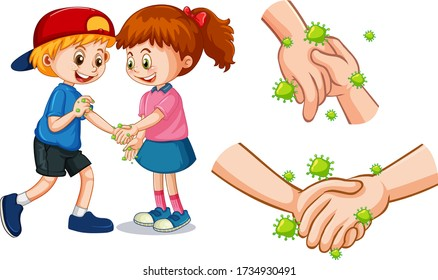 Children touch each other hands with germs illustration