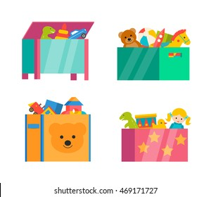Children toy boxes set isolated on white background, vector illustration