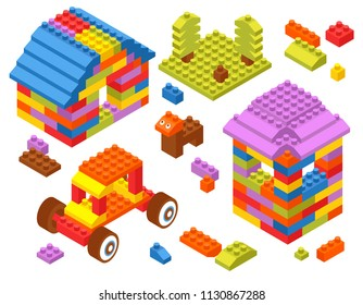 Children toy constructor isometric composition with tractor tower house dog from colorful building bricks blocks vector illustration
