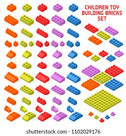 Children toy constructor isometric pieces set with colorful building bricks various shape and size isolated vector illustration