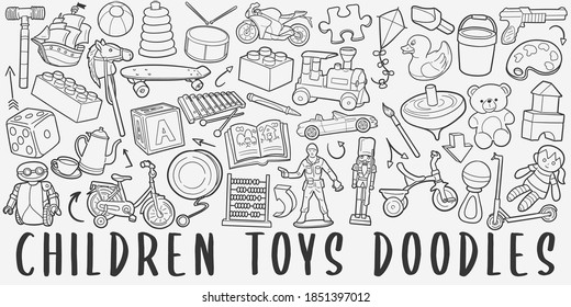 Children Toys doodle icon set. Kids Life Style Vector illustration collection. Banner Hand drawn Line art style.
