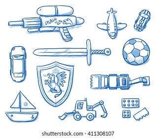 Children toys icons flat lay, sword, shield, ball, airplane, water gun, bricks, boat, car, excavator. Hand drawn cartoon vector illustration.