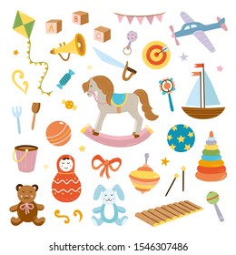 Children toys and kids objects on white background. Cute vintage baby illustrations. Vector childhood set
