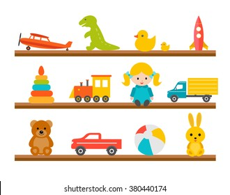 Children toys on wooden shelves, icons set isolated on white background