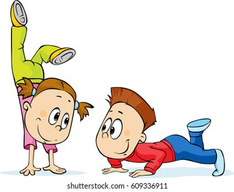 Children Trains - a fun exercise, vector cartoon illustration