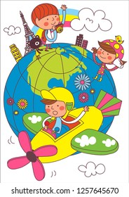 Children traveling around the world on airplanes