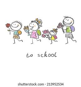 children traveling to school
