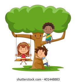 Children and tree, vector illustration
