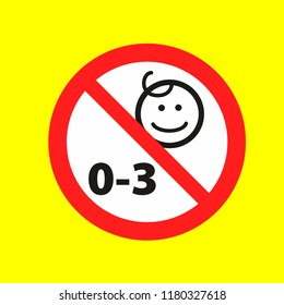 children under 3 year age not allowed warn caution warn symbol for public transport areas to do not do that. vector logo, sign, symbol
