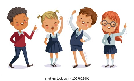 children uniform. back to school. boys and girls of hand sign. cute character. happy smile. cartoon vector illustration, isolated on white background