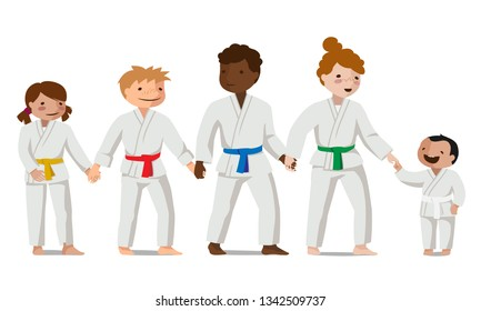 Children in uniform hold hands. Colorful vector flat illustration. Suitable for oriental martial arts such as aikido, judo, karate, jiu-jitsu, budo