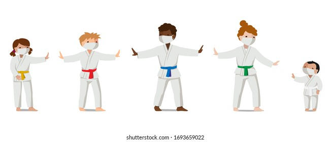 Children in uniform and medical masks keep their distance. Colorful vector flat illustration. Suitable for oriental martial arts such as aikido, judo, karate, jiu-jitsu, budo