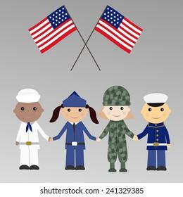 Children with USA military uniform