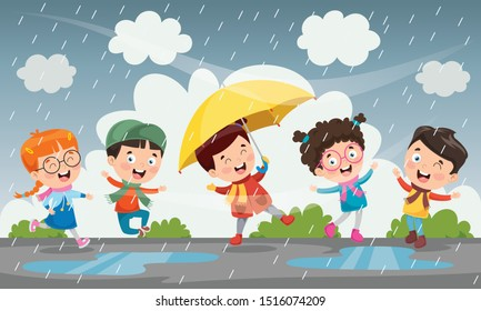 Children Using Umbrella Under The Rain