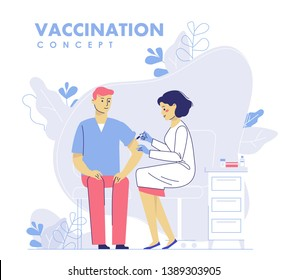 Children vaccination concept for immunity health. Doctor pediatrician makes an injection of flu vaccine to a kid in hospital.  Healthcare, medical treatment, prevention and immunize.
