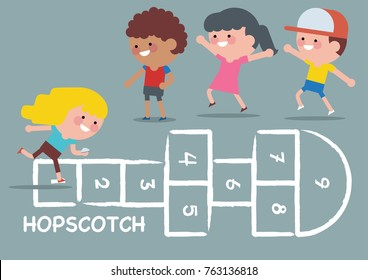 Children of various Ethnic Groups playing hopscotch. Children vector illustration