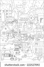 Children vector coloring. Winter town. Vector illustration
