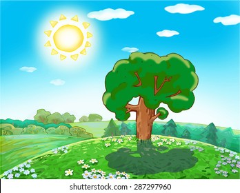 Children vector drawing green tree on a sunny day in the woods, on a hill with meadow flowers.