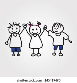children vector hand drawn