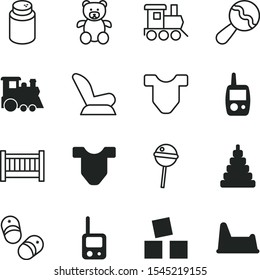 children vector icon set such as: stacking, vintage, powder, Shoes for little children, chair, screen, beby, pee, ear, care, children's toilet, shoes, carriage, buds, freight train, black, vehicle