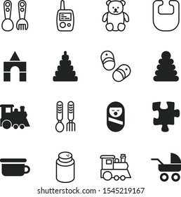 children vector icon set such as: talcum, shoes for newborns, 3d, newborns, shoes, toilet for baby, drool, Children's spoons, cook, roly, kids, sms, cartoonic, happiness, template, box, creative