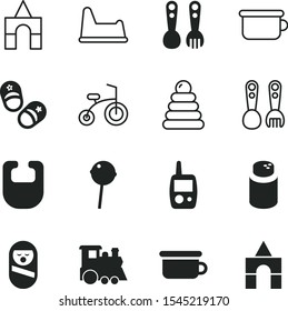 children vector icon set such as: stacking, mobile, sweetness, display, cosmetics, poster, skating, build, locomotive, old, drooling, sugary, infant, clothes, drool, cartoonic, silhouette, sms, roly
