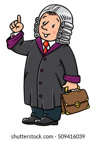 Children vector illustration of funny judge. A man in barrister wig, dressed in mantle, with briefcase understand thumbs up. Profession series.
