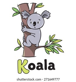 Children vector illustration of funny koala bear on eucaliptus tree. Alphabet K