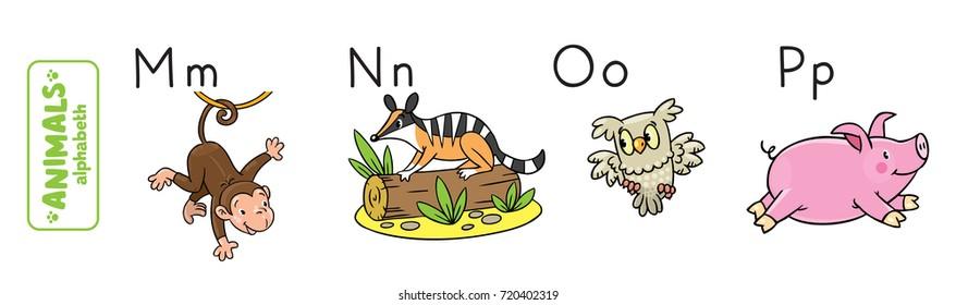 Children vector illustration of funny monkey, numbat, owl and panda. Animals zoo alphabet or ABC.