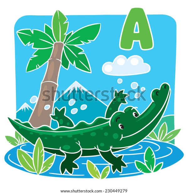 Children vector illustration of little funny crocodile or alligator swims in the lake. Alphabet A