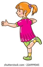 Children vector illustration of small girl jumping on one leg