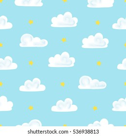 Children vector seamless pattern with clouds and stars in sky. Vector illustration.