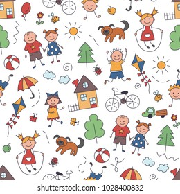 Children in the village. Seamless pattern in doodle and cartoon style. Color. Vector. EPS8