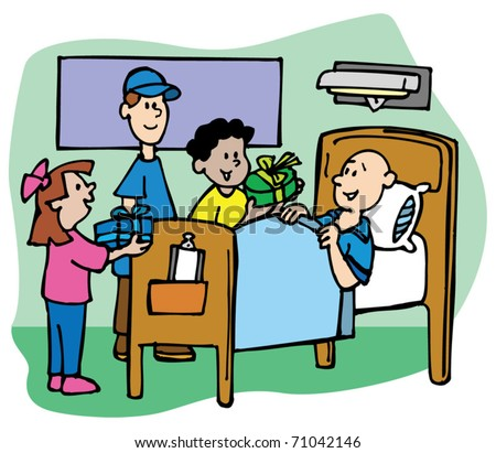 children visit friend hospital stock vector royalty free 71042146