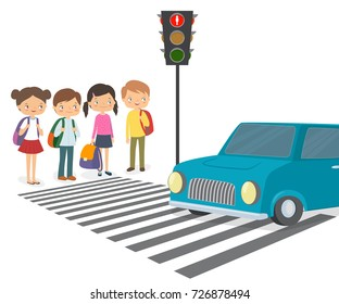 Children wait for a green traffic light signal to cross the road. Cartoon vector illustration